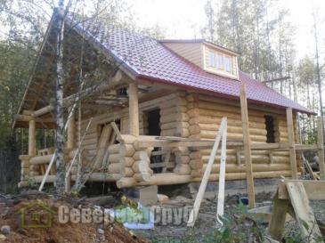 Сборка дома 6 на 8 из бревна в городе Верея (Наро-Фоминский район)