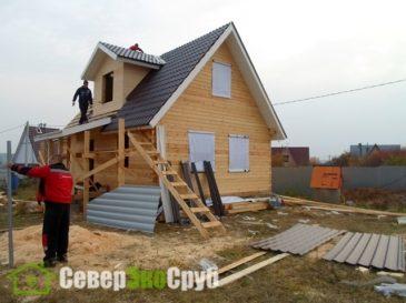 Фоторепортаж строительства дома из бруса по проекту БД-7.Обнинск