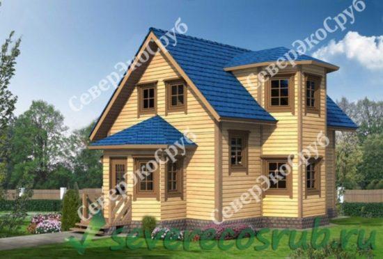 БД-10 Проект дома из бруса 7,5х10 Общий вид