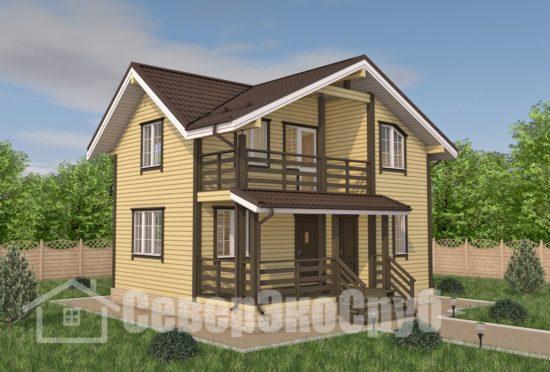 БД-101 Проект дома из бруса 7×8 Общий вид
