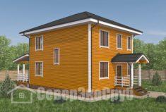 БД-102 Проект дома из бруса 8×10. Вид спереди слева