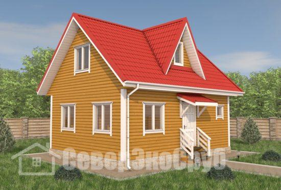 БД-105 Проект дома из бруса 6×8 Общий вид