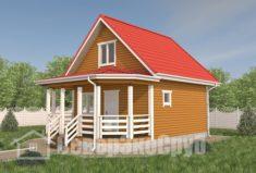 БД-106 Проект дома из бруса 6×8,5. Вид спереди слева