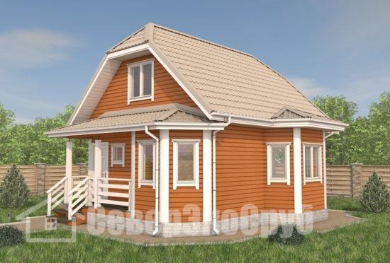 БД-107 Проект дома из бруса 7×8 Общий вид