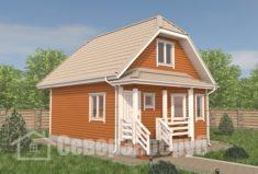 БД-107 Проект дома из бруса 7×8. Вид спереди слева