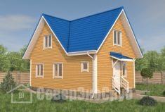 БД-108 Проект дома из бруса 6×9. Вид спереди слева