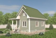 БД-109 Проект дома из бруса 6×7,5. Вид спереди слева