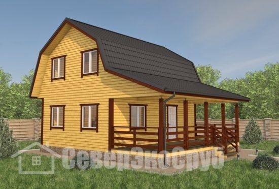 БД-110 Проект дома из бруса 8×9 Общий вид