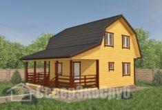 БД-110 Проект дома из бруса 8×9. Вид спереди слева