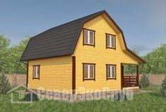 БД-110 Проект дома из бруса 8×9. Сзади слева