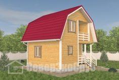 БД-113 Проект дома из бруса 6×6. Вид спереди слева