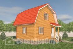 БД-114 Проект дома из бруса 6×6. Вид спереди слева