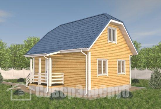БД-115 Проект дома из бруса 6×8 Общий вид