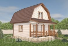 БД-116 Проект дома из бруса 6×7,5. Вид спереди слева