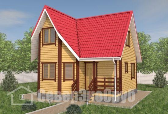 БД-120 Проект дома из бруса 7×7 Общий вид