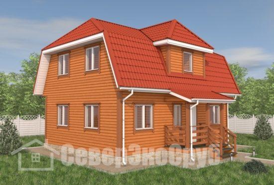 БД-122 Проект дома из бруса 7×9 Общий вид