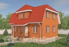 БД-122 Проект дома из бруса 7×9. Вид спереди слева