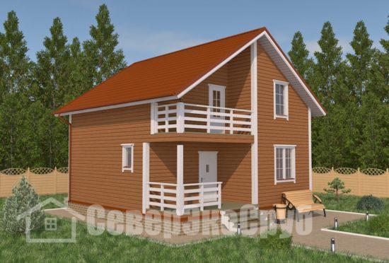 БД-16 Проект дома из бруса 8,3×8,3 Общий вид
