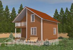 БД-16 Проект дома из бруса 8,3×8,3. Вид спереди слева