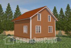 БД-16 Проект дома из бруса 8,3×8,3. Сзади слева