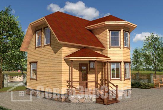 БД-31 Проект дома из бруса 7,7х8 Общий вид