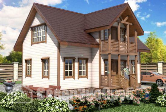 БД-40 Проект дома из бруса 10х11 Общий вид