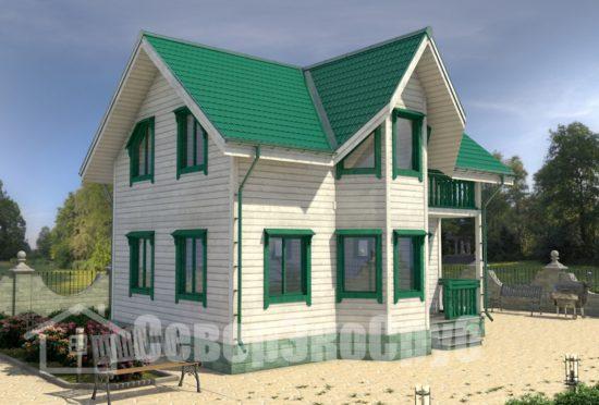 БД-67 Проект дома из бруса 7х9 Общий вид