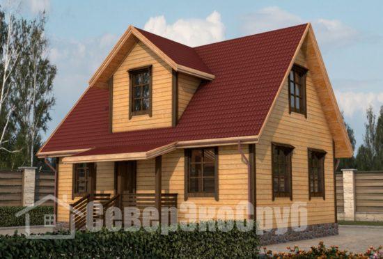 БД-7 Проект дома из бруса 6х9 Общий вид