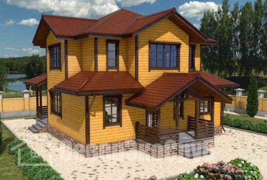 БД-70 Проект дома из бруса 10х10 Общий вид