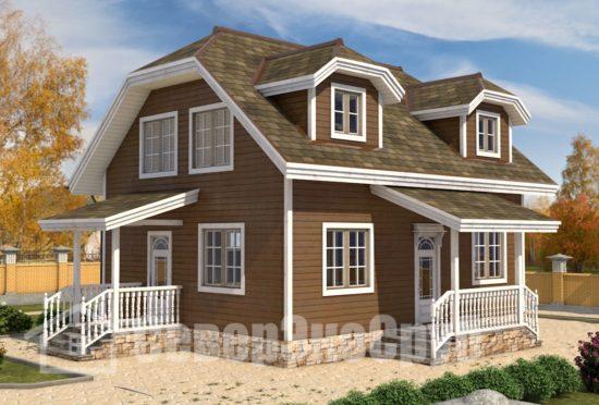 БД-78 Проект дома из бруса 8х10 Общий вид
