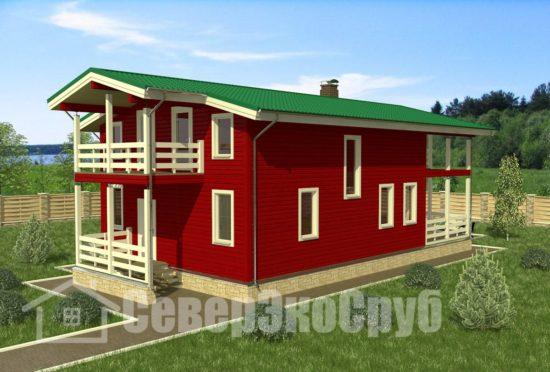 БД-82 Проект дома из бруса 8×16 Общий вид