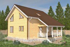 БД-94 Проект дома из бруса 9,5×10,5. Вид спереди слева