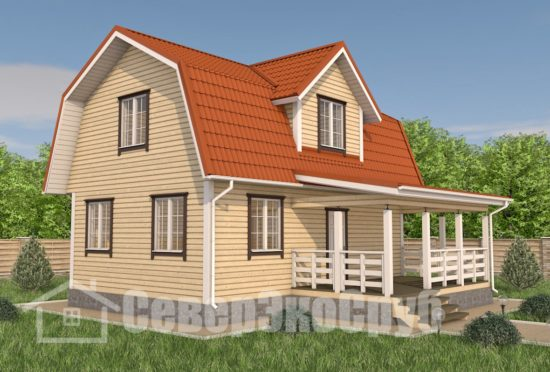 БД-99 Проект дома из бруса 6×9 Общий вид