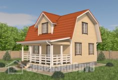 БД-99 Проект дома из бруса 6×9. Вид спереди слева