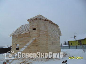 Фоторепортаж строительства дома из обычного бруса Чеховский р-н, д.Покров