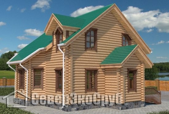 СД-5 Проект сруба дома 7,5х7,5 Общий вид