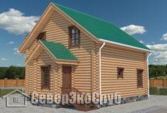 СД-5 Проект сруба дома 7,5х7,5. Вид спереди слева