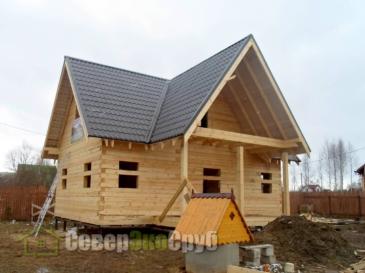 Фоторепортаж строительства дома из обычного бруса по проекту БД-17. Московская обл., г.Шаховская