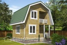 БД-126 Проект дома из бруса 6×6. Вид спереди слева