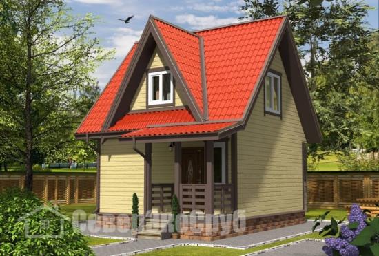 БД-127 Проект дома из бруса 6×7,5 Общий вид