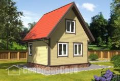 БД-127 Проект дома из бруса 6×7,5. Вид спереди слева
