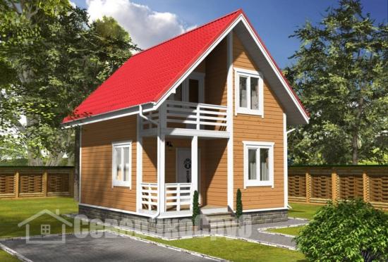 БД-128 Проект дома из бруса 6×7 Общий вид