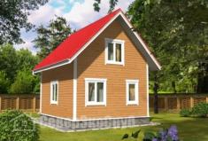 БД-128 Проект дома из бруса 6×7. Вид спереди слева