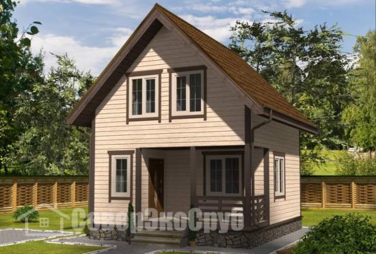 БД-131 Проект дома из бруса 6×7 Общий вид